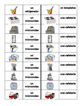 Aparatos (Appliances in Spanish) Dominoes