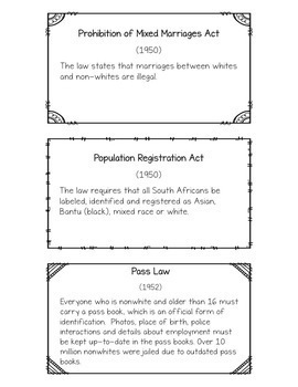 Apartheid Laws: Cards and Writing Activities