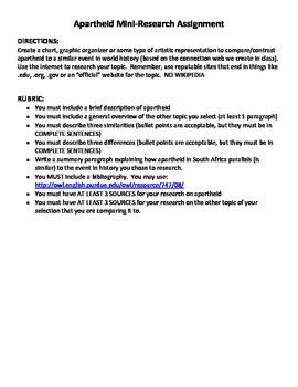 Apartheid Mini-Research Assignment (Grades 6-8)