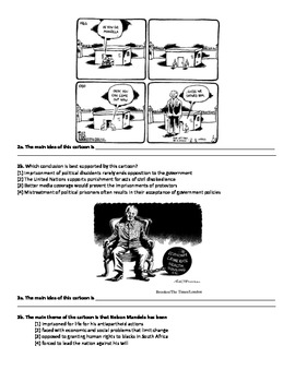 Apartheid - Nelson Mandela - Reading Comprehension and Political Cartoons