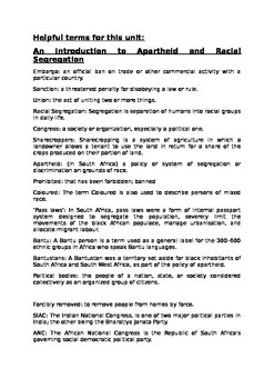 Apartheid and Segregation glossary of terms and activity