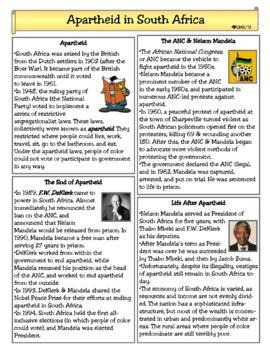 Apartheid Worksheets & Teaching Resources | Teachers Pay Teachers