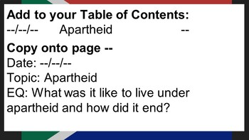 Apartheid in South Africa (INB, assessment)