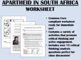 Apartheid in South Africa & Mandela - Global/World History Common Core