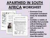 Apartheid in South Africa worksheet - Nelson Mandela