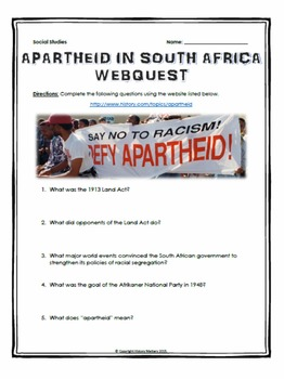 Apartheid in South Africa - Webquest with Key
