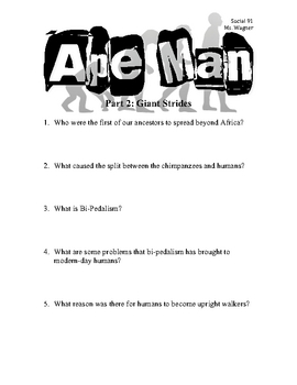 Ape Man: Giant Strides (Video Questions for Students)