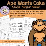Ape Wants a Cake: Long A -magic e Worksheets and Reader +