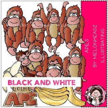 Melonheadz: Apes clip art - BLACK AND WHITE