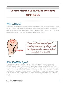 Aphasia: Communication Partners Brochure