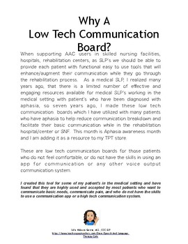 Aphasia: Low-Tech AAC Communication Board