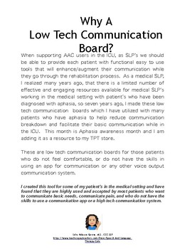 Aphasia: Low-Tech AAC Communication Board: ICU