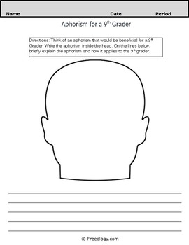 Aphorism Worksheet