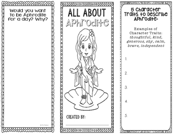Aphrodite - Greek Mythology Biography Research Project - Interactive Notebook