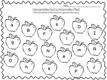 Aple ABC's~NO PREP Worksheets