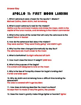 Apollo 11: First Moon Landing by Michael D. Cole Comprehension Questions