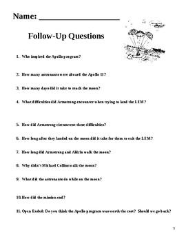 Apollo 11 Man Walks the Moon: 2 page literacy article  w Q's