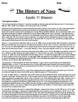 Apollo 11 Mission Article and Summary/Illustration Assignment