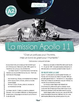 Apollo 11 Mission: text in French + exercises