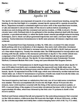 Apollo 10 Mission Article and Summary/Illustration Assignment
