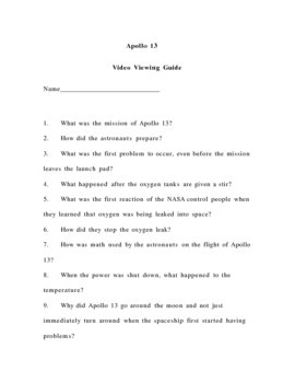 Apollo 13 video questions