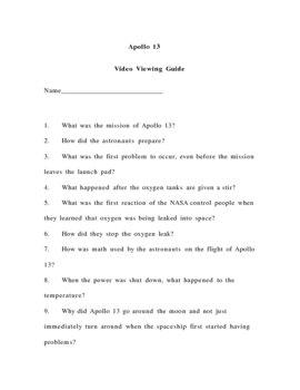 Apollo 13 Movie Guide & Worksheets | Teachers Pay Teachers