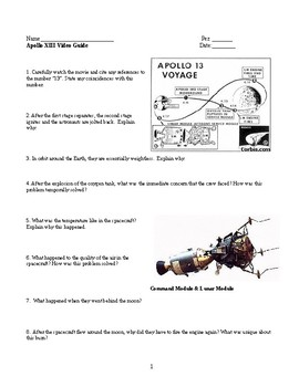 apollo 13 video guide by lesson universe teachers pay teachers. Black Bedroom Furniture Sets. Home Design Ideas