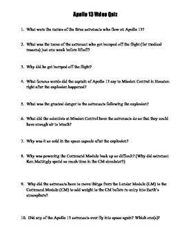 Apollo 13 Video Quiz