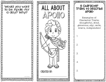 Apollo - Greek Mythology Biography Research Project - Interactive Notebook