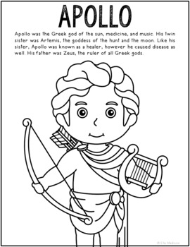 Apollo, Greek Mythology Informational Text Coloring Page Craft or Poster