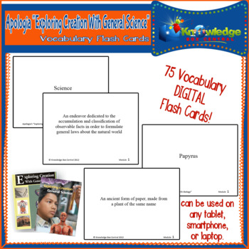 Apologia Exploring Creat. W/ General Science Vocabulary Word Flash Cards TABLET