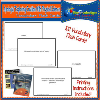 Apologia Exploring Creation With Physical Science Vocab Flash Cards 1st & 2nd Ed
