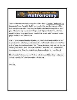 Apologia Exploring Creation with Astronomy (1st ed.): Lessons 1-14 Tests