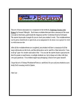 Apologia Exploring Creation with Botany: Lessons 1-13 Tests