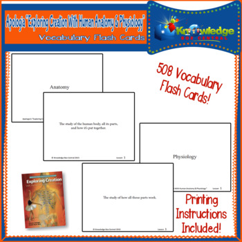 Apologia Exploring Creation with Human Anatomy & Physiology Vocabulary Flash Car