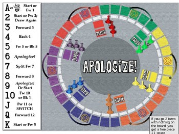 Apologize!  Classroom Board Game PowerPoint
