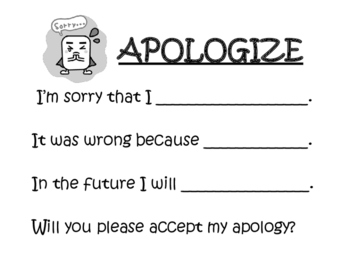 Apologize Sentence Stem and Response Posters