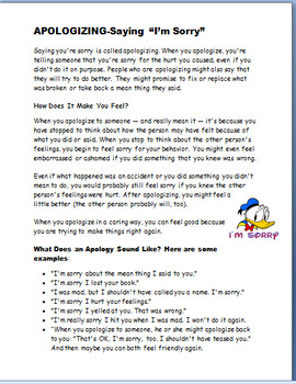 """Apologizing-""""Learning to say I'm Sorry""""- lesson and 3 activities"""