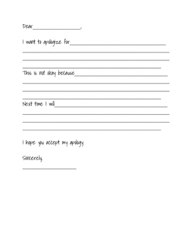 apology letter template teaching resources teachers pay teachers