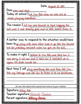 Apology Letters Template To Teach Kids To Make