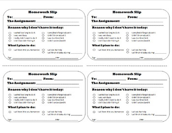 Classroom Management Made Easy: Apology Notes and Homework Slips