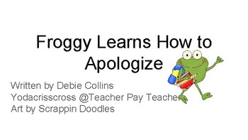 Apology lesson/ story format/ discussion questions/ apology fill in blank letter