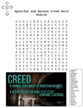 Apostles and Nicene Creed Catholic Word Search