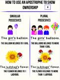 Apostrophe Anchor Chart Singular and Plural Possessive Nouns