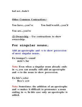 Apostrophe Notes/Handout/Quiz