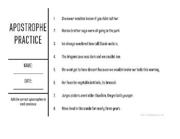 Apostrophe Practice Worksheets 2