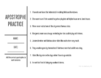 Apostrophe Practice Worksheets & Teaching Resources | TpT