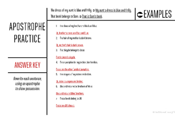 Apostrophe Practice Worksheets 3 - Showing Possession