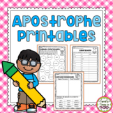 Apostrophe Printables for Contractions and Possessive Nouns
