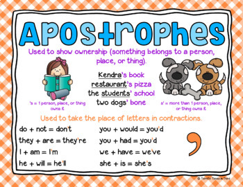Apostrophe Printables For Contractions And Possessive